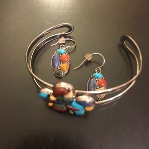 Jewelry - Southwestern style sterling bracelet with earrings
